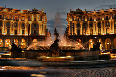 The Fountain of the Naiads on Piazza della Repubblica in Rome Italy. Just one of the many spectacular fountains found throughout Rome.