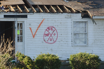 HENRYVILLE, IN - USA, MARCH 10, 2012- FEMA markings on the side of a home damaged during an EF4 tornado that struck Henryville, Indiana, on March 2, 2012.
