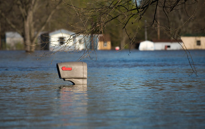 Mailbox in flood water