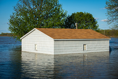 Small building in flood water