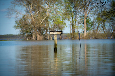 Sign in flood waters