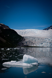 Glacier and ice in the water of Resurrection Bay in Kenai Fjords Alaska