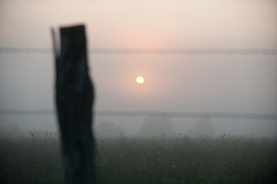 Old fence on a foggy morning with sun showing through