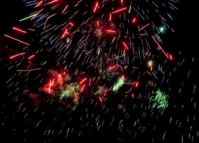 Fireworks explode in the sky on the Fourth of July in the United States