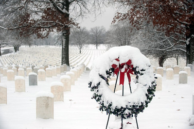 Jefferson Barracks National Cemetery near St. Louis following winter snow storm