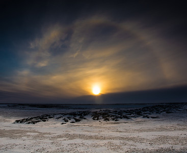 Sun dog at sunset