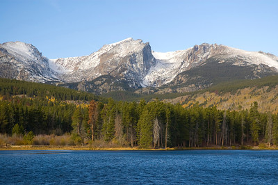 Mountains, evergreens and a lake in Rocky Mountain National Park