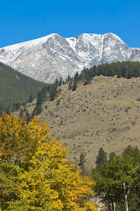 Fall colors, snow covered mountains and blue sky in Rocky Mountain National Park