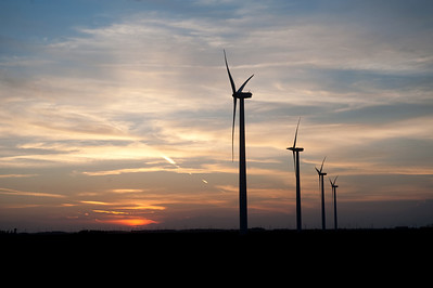 Turbines at a large midwestern wind farm are silhouetted agains a sunset