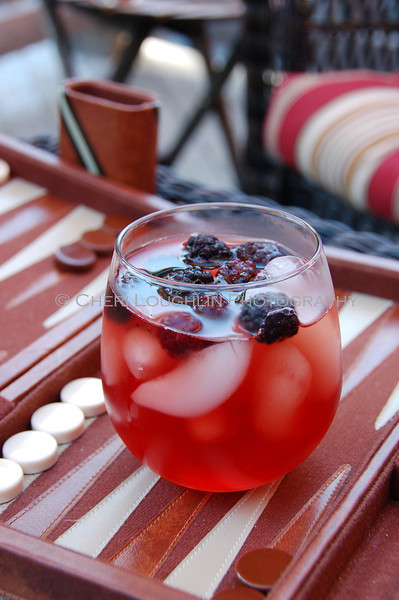 Red Drink with Blackberries On the Rocks 064