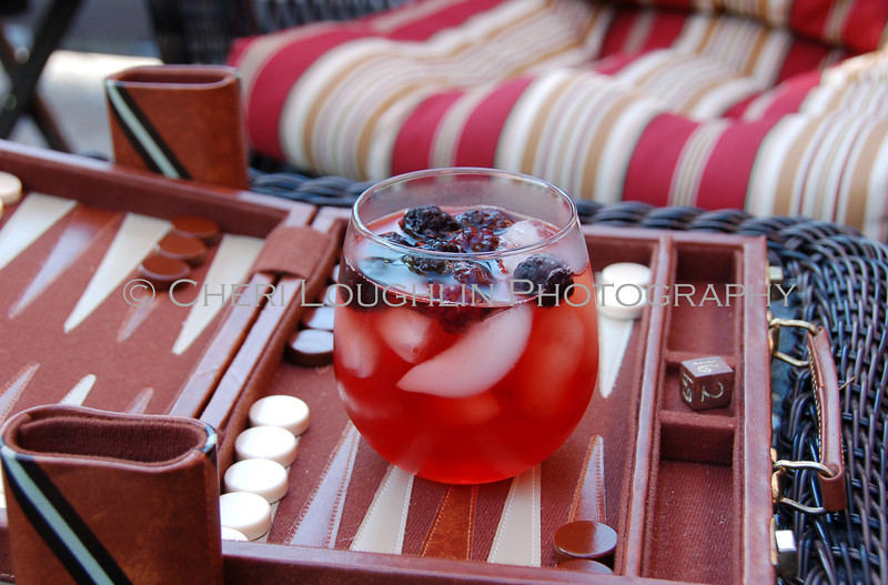 Red Drink with Blackberries On the Rocks 071