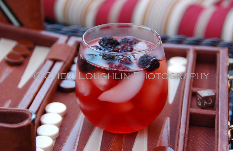 Red Drink with Blackberries On the Rocks 073