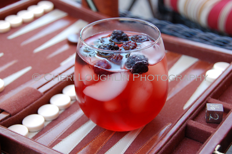 Red Drink with Blackberries On the Rocks 066