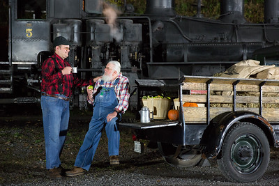 Matt Wilson and T.C. share a lighthearted moment during a night photo session at the Fall Photography Workshop.