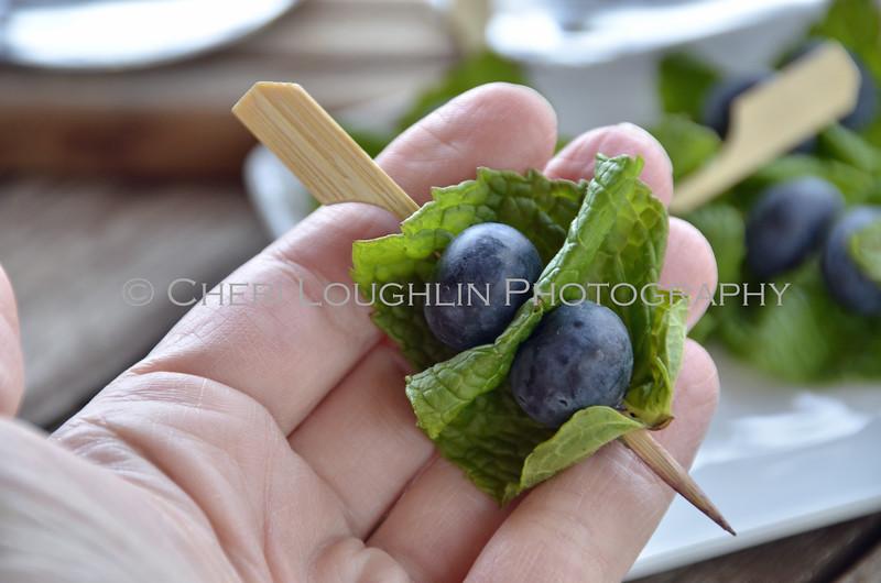 Blueberries & Mint Garnish in Hand 073