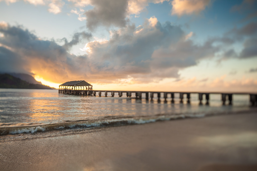 Clouds break on Hanalei Pier.  Kauai, HI