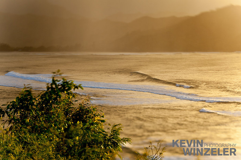 Waves in the Hanalei bay at sunset Location: Kauai, Hawaii
