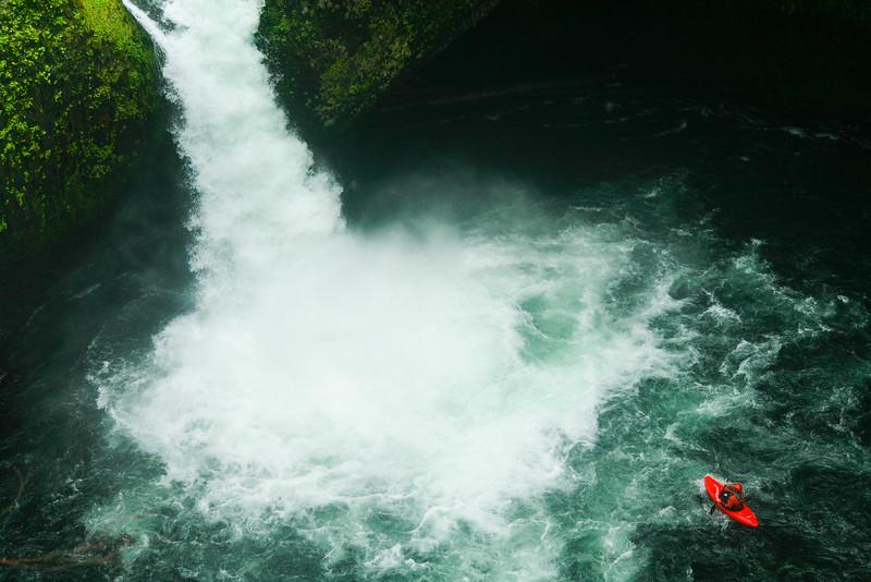 Kayaker on Punch Bowl Falls