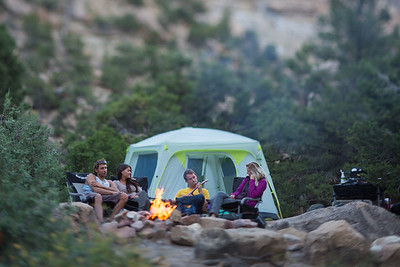 a group of four friends camping by a fire