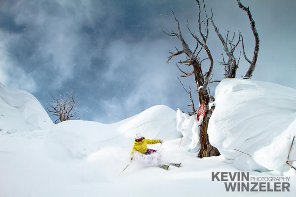 Suz Graham lays down a turn at Alta Ski resort in Utah