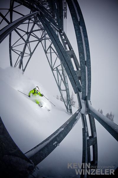 Jared Allen skis a line through the tram tower at Snowbird Ski and Summer resort in Utah
