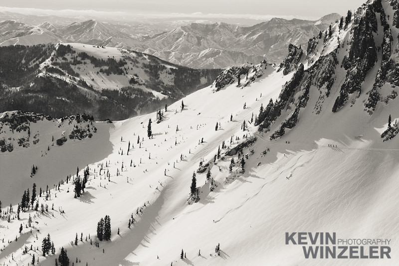 First tracks in mineral basin at Snowbird Ski Resort in Utah.