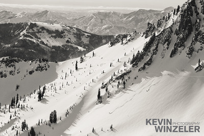 First tracks in mineral basin at Snowbird Ski Resort in Utah.