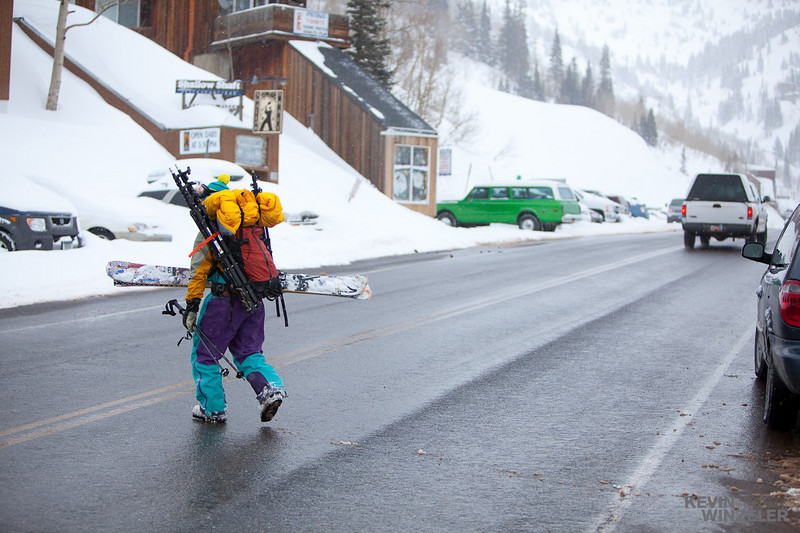 lg (or little greg) doing some sherpa work for me.  Three lights stands and ranger pack on that pack as well as who knows what else. Fortunately, the cars could see him coming as he crossed the road next to Alta ski resort.