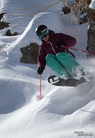 MIchelle Manning airs out her turn for this skiing photograph.