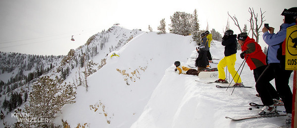 Professional athlete and skier Jesse Hall, shows the viewing crowd how to drop into a big line off of the Cirque at Snowbird Ski Resort (Famous Tram in the background).  This image was captured during the 2010 Salt Lake Shootout in Utah and submitted in the Big Mountain category.