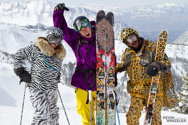 "Professional Skier Cody Barnhill puts on his best Lion face alongside ""Leopard dude"" and ""Zebra Lady"" at the top of the Tram at Snowbird Ski Resort in Utah.  This image was captured and submitted during the 2010 Salt Lake shootout."