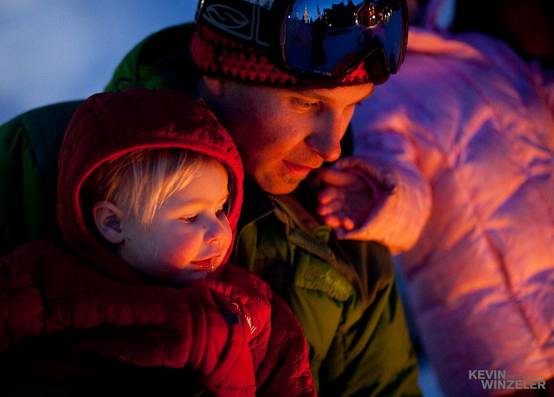 This mountain lifestyle image of the West family at Solitude Ski resort.