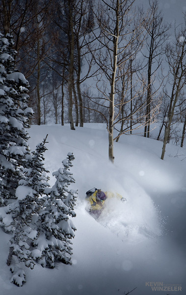 Suzanne Graham makes a turn into deep powder near Alta Utah ski resort.  The conditions were amazing the entire week of the skiing competition.