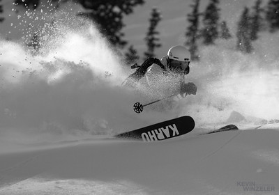 Jason West laying down a nice turn during the competition.  Deep conditions produced some beaautiful working conditions for photography and skiing.
