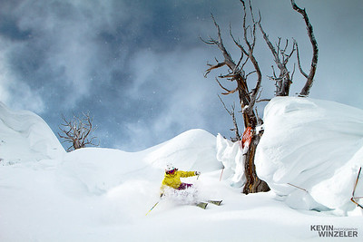 Photographing Suzanne Graham, Professional skier and basejumper makes a turn next to a dead tree at Alta Ski resort.  The image was shot during the SLC shootout in 2010 in the cottonwood canyons of Utah.