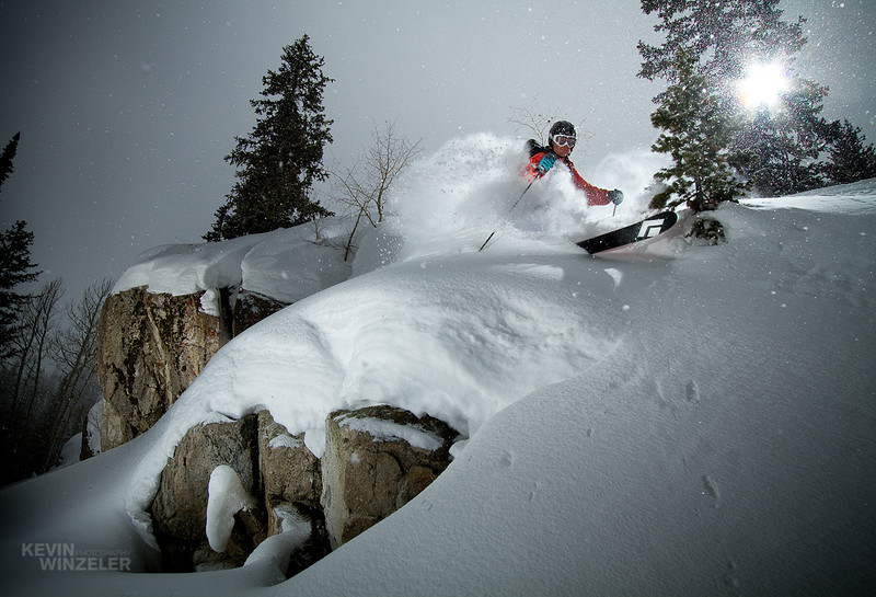 Andy Jacobsen drops a line around some cliffs at Brighton Ski resort in Utah. The powder and snow conditions were epic on days 2 and 3 of the competition.
