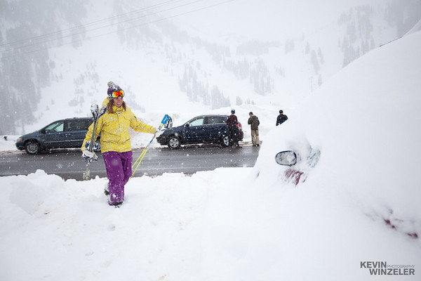 Suzanne Graham arriving back at the car after a day of skiing.  We had a lot of snow during the week!