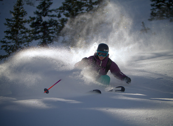 Michelle Manning, makes quick work of a long line at Solitude Ski resort.