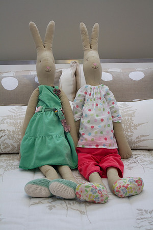 Two toy rabbits