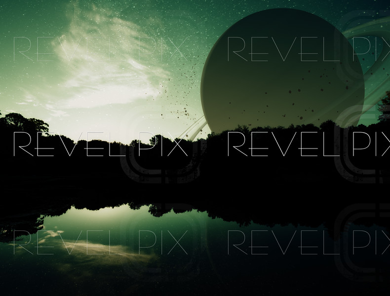 a fantasy sci-fi scene of the sun setting on a distant planet with water.