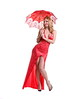 Modern American Pinup, beautiful young lady in a red dress carrying a red lace parasol