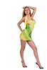 Beautiful young blond woman in a form fitting yellow and green haltertop summer dress