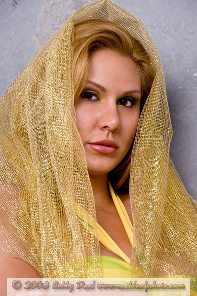 Portrait of a blond fashion model wearing a gold mesh cloak