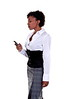 African American business woman talking on a cell phone