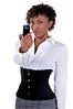 African American business woman talking a picture with a camera phone / cell phone
