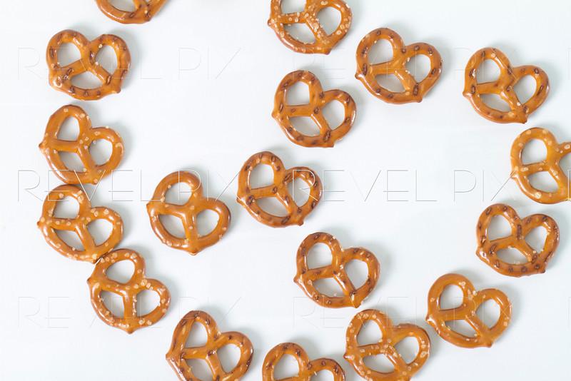 pretzels displayed in shape of pretzel. shot from above