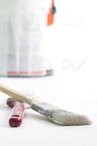 vertical shot with paint brushes in the foreground and a paint bucket in the background. shot on white.