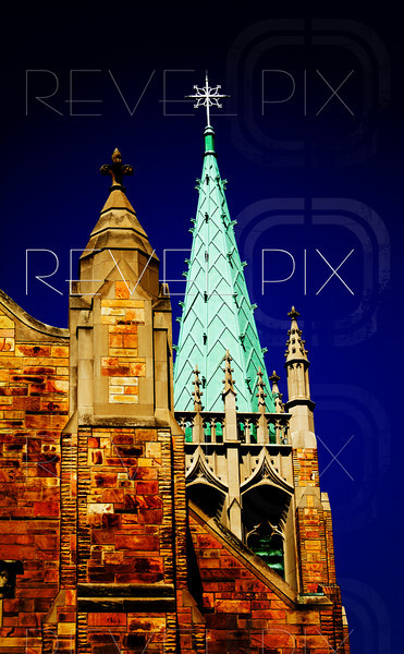 the upper steeple of a church.