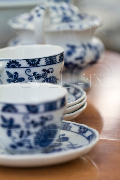 china bowls on dishes on a table. shallow depth of field