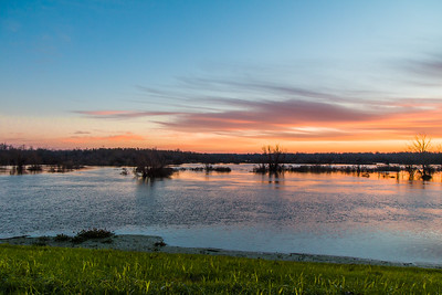 Mississippi River Flood 1-7-2016 View of back water alone Hwy 15 N Control Structure at sunrise 2